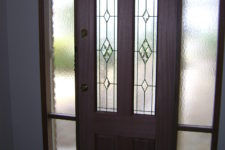 Triple Glass DOOR with matching Sidelights in Cathedral Glass